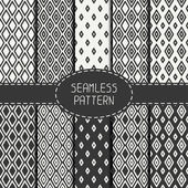 Set of monochrome geometric seamless pattern with rhombus, square. Collection of paper for scrapbook. Vector background. Tiling. Hand drawn doodles. Stylish graphic texture for your design, wallpaper. — Stock Vector