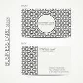 Vintage simple geometric monochrome business card template for your design. Line seamless pattern with rhombus, square. Trendy calling card. Hand drawn doodles. Vector design eps10. — Stock Vector