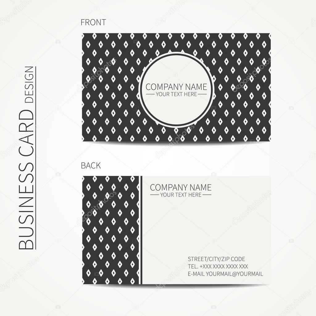 Vintage simple geometric monochrome business card template for – Line Card Template