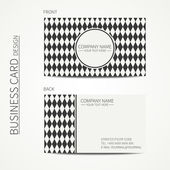 Vintage hipster simple monochrome business card template for your design. Line seamless pattern with geometric pattern with rhombus, square. Trendy calling card. Vector design eps10. — Stock Vector