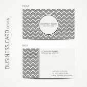 Vintage hipster simple monochrome business card template for your design. Line seamless pattern with chevron. Zigzag stripes geometric pattern. Trendy calling card. Vector design eps10. — Stock Vector