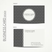 Vintage hipster simple monochrome business card template for your design. Line seamless geometric pattern with rhombus, square. Trendy calling card. Vector design eps10. — Stock Vector