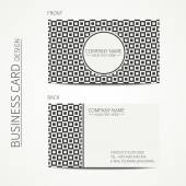 Vintage hipster simple monochrome business card template for your design. Line seamless geometric pattern with cube, square. Trendy calling card. Vector design eps10. — Stock Vector