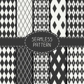 Set of geometric monochrome seamless pattern with rhombus, square. Collection of paper for scrapbook. Beautiful vector background. Tiling. Stylish graphic texture for your design, wallpaper. — Stock Vector
