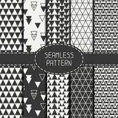 Set of geometric monochrome seamless pattern with triangle. Collection of paper for scrapbook. Beautiful vector background. Tiling. Stylish graphic texture for your design, wallpaper. — Stock Vector