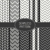 Set of monochrome fashion geometric seamless pattern with chevron. Collection of paper for scrapbook. Vector background. Tiling. Stylish graphic texture for your design, wallpaper, pattern fills. — Stock Vector