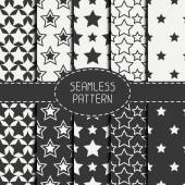 Set of geometric seamless pattern with stars. Collection of wrapping paper. Paper for scrapbook. Tiling. Beautiful vector illustration. Starry background. Stylish graphic texture  for your design. — Stock Vector
