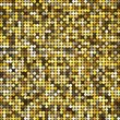 Vector golden abstract retro vintage pixel mosaic background of sparkling sequins for design. Gold disco shiny lights. Multicolor circles texture. — Stock Vector #69612635