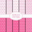 Set of pink romantic seamless pattern with hearts. Collection of wrapping paper. Paper for scrapbook. Vector background. Tiling. Hand drawn doodles. Stylish graphic texture for your design. — Stock Vector #69892829