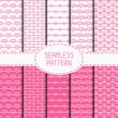 Set of pink romantic seamless pattern with hearts. Collection of wrapping paper. Paper for scrapbook. Vector background. Tiling. Hand drawn doodles. Stylish graphic texture for your design. — Stock Vector