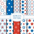 Set of geometric patriotic seamless pattern with red, white, blue stars. American symbols. USA flag. 4th of July. Wrapping paper. Paper for scrapbook. Tiling. Vector nautical starry background. — Stock Vector #70374569