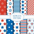 Set of geometric patriotic seamless pattern with red, white, blue stars. American symbols. USA flag. 4th of July. Wrapping paper. Paper for scrapbook. Tiling. Vector nautical starry background. — Stock Vector #70375457