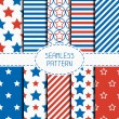 Set of geometric patriotic seamless pattern with red, white, blue stars. American symbols. USA flag. 4th of July. Wrapping paper. Paper for scrapbook. Tiling. Vector nautical starry background. — Stock Vector #70375471