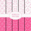 Set of pink romantic geometric seamless pattern with hearts. Collection of paper for scrapbook. Wrapping paper. Vector background. Tiling. Stylish graphic texture for your design, wallpaper. — Stock Vector #70466947