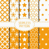 Set of yellow geometric seamless pattern with stars. Collection of wrapping paper. Paper for scrapbook. Tiling. Vector illustration. Starry background. Stylish graphic texture for design, wallpaper. — Stock Vector