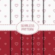 Set of red romantic geometric seamless pattern with hearts. Collection of wrapping paper. Scrapbook paper. Tiling. Vector illustration. Background. Graphic texture  for design. Valentines day. — Stock Vector #71258419