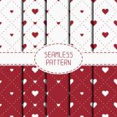 Set of red romantic geometric seamless pattern with hearts. Collection of wrapping paper. Scrapbook paper. Tiling. Vector illustration. Background. Graphic texture  for design. Valentines day. — Stock Vector