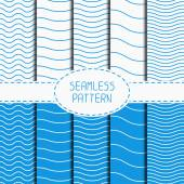 Set of geometric seamless wavy lines pattern. Irregular abstract striped. Collection of wrapping paper. Scrapbook paper. Tiling. Vector simple ripple illustration. Background. Blue stripes. Texture. — Stock Vector