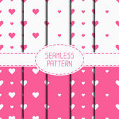 Set of pink romantic geometric seamless pattern with hearts. Collection of wrapping paper. Scrapbook paper. Tiling. Vector illustration. Background. Graphic texture  for design. Valentines day. — Stock Vector