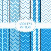 Set of blue fashion geometric seamless pattern with chevron. Collection of paper for scrapbook. Vector background. Tiling. Stylish graphic texture for your design, wallpaper, pattern fills. — Stock Vector