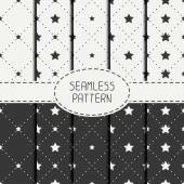 Set of geometric seamless stars pattern. Collection of wrapping paper. Paper for scrapbook. Tiling. Vector illustration. Starry background. Stylish graphic texture for your design, wallpaper. — Stock Vector