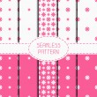 Set of pink geometric floral seamless pattern with flowers. Collection of wrapping paper. Paper for scrapbook. Tiling. Beautiful vector illustration. Stylish graphic texture for your design, wallpaper — Stock Vector #73439963