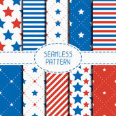 Set of geometric patriotic seamless pattern with red, white, blue stars. American symbols. USA flag. 4th of July. Wrapping paper. Paper for scrapbook. Tiling. Vector nautical starry background. — Stock Vector