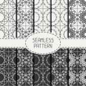 Set of geometric line lattice seamless arabic pattern. Islamic oriental style. Collection of wrapping paper. Scrapbook paper. Tiling. Vector illustration. Moroccan background. Swatches. Graphic — Vecteur