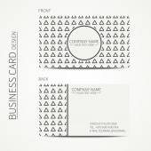 Geometric monochrome business card template with hipster triangle for your design. Tribal native business card. Trendy calling card. Vector design. — Stock Vector