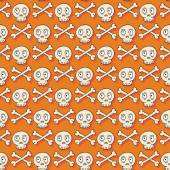 Happy Halloween. Hand drawn seamless pattern with skulls. Trick or treat. Wrapping paper. Scrapbook paper. Doodles style. Tiling. Vector illustration. Background. Stylish ink graphic texture. — Stock Vector