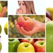 Apple montage including fruits and healthy young women — Stock Video #52830469