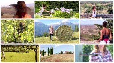 Femmes qui vivent dans le montage de campagnes — Vidéo