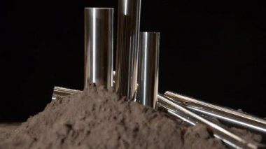 Steel bars rotating over black background — Stockvideo