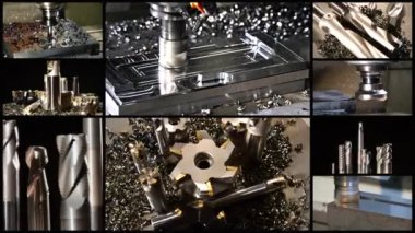 Milling machine collage — Stock Video