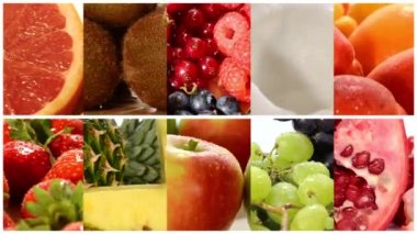 Close up of diverse fruits, montage — Stock Video