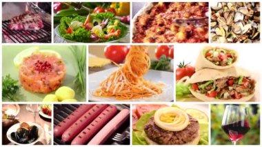 International cuisine montage — Stock Video