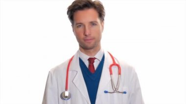 Portrait of a young medical doctor — Stock Video
