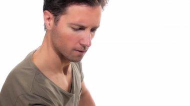 Handsome boy doing dumbbell biceps curl — Stock Video