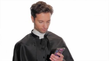 Modern young priest taking a selfie — Stock Video