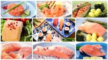 Recetas de salmón collage — Vídeo de Stock