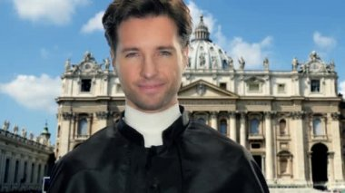 Young catholic priest in vatican city — Stock Video