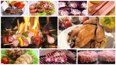 Different types of meat, montage — Stock Video
