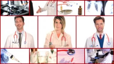 Medical doctors collage — Stock Video