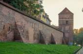 Defensive wall (Torun, Poland) in the sunrise — Stock Photo