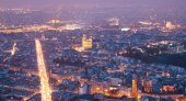 Aerial view of Paris in the sunset — Stock Photo