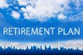 Texto de plano de aposentadoria na nuvem — Fotografia Stock