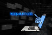 Pointing hand strategy with digital background — Stock Photo