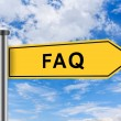 Yellow road sign with FAQ or Frequently asked question words — Stock Photo #55294425