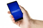 Penalty word on digital smart phone — Stock Photo