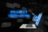Pointing hand project execution with digital background — Stock Photo